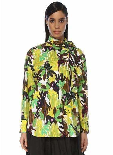 Valentino Valentino  Yakası Bağlamalı Çiçek Desenli Gömlek 101487170 Renkli